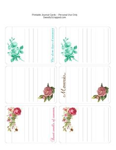 Free printable journal cards....