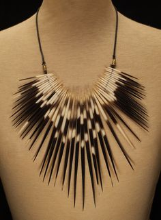 African Porcupine Quills Used In Shaman Ceremonial Necklace Taxidermy Jewelry