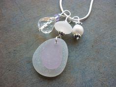 Sea Glass Necklace - Lavender Stacked Beach Seaglass. $28.00, via Etsy.