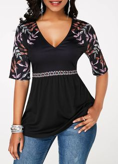 Womens Casual Tops Black V Neck Printed Half Sleeve T Shirt Trendy Tops For Women, Half Sleeves, Black Tops, Casual Outfits, Tunic Tops, V Neck, Clothes, Tops Online, Shirts Online