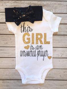 Baby Girl Bodysuit Answered Prayer Bodysuit God by BellaPiccoli Baby Kind, My Baby Girl, Our Baby, Baby Love, Baby Girls, Baby Girl Onesie, Baby Baby, Glitter Bodysuit, Little Mac