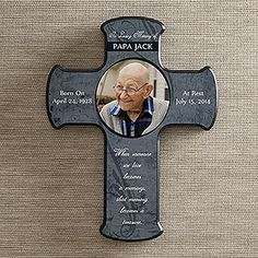 This is such a beautiful memorial cross. I comes in different colors and you can upload your loved one's photo and personalize it with their name, memorial dates and a special message. What a lovely way to always have loved ones you've lost with you in your home!