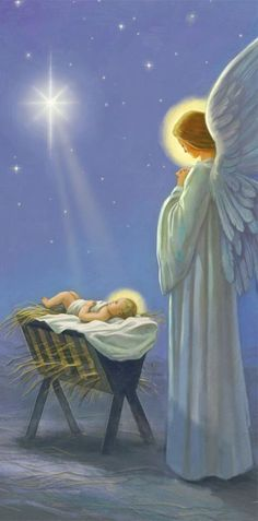 Angel watching over Baby Jesus' crib