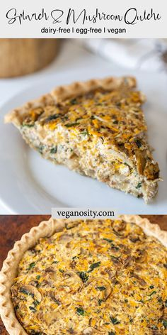 This vegan spinach and mushroom quiche is egg-free and dairy-free. Made with a homemade pie crust, it's perfect for a special brunch, breakfast, or dinner. # Food and Drink vegetarian Vegan Spinach and Mushroom Quiche Vegan Brunch Recipes, Vegetarian Recipes, Cooking Recipes, Dairy Free Quiche Recipes, Drink Recipes, Tofu, Dairy Free Eggs, Egg Free, Quiche Vegan