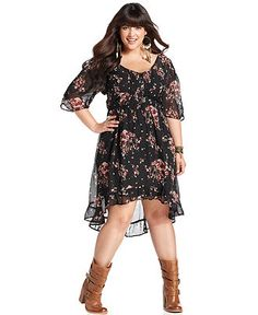 Up to 3x $64.00 American Rag Plus Size Dress, Three-Quarter-Sleeve Floral-Print