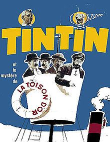 The French film poster for the 1961 film, Tintin and the Golden Fleece
