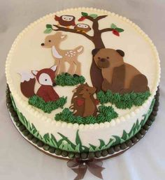 Woodland creatures shower cake