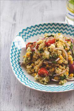 Rezept für Sommer-Salat mit Quinoa, Mais, Avocado und Feta