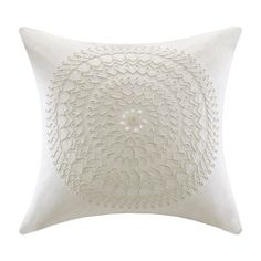 Bansuri Pillow. Wrapped in crisp white cotton, this lovely design features matching embroidered detail and intricate beading. at Joss and Main!