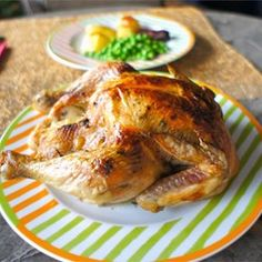 A moist, garlicky-lemony, easy roast dinner. Serve with roast potatoes and veggies, and you've got yourself a wholesome and impressive meal! Slow Roast Chicken, Best Roasted Chicken, Roast Chicken Recipes, Rotisserie Chicken, Moist Chicken, Turkey Recipes, Baked Chicken, Best Italian Recipes, Favorite Recipes