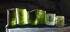 Lot of 6 Fine Green Tourmaline Elbaite Specimens. 14 Grams. Lovely!