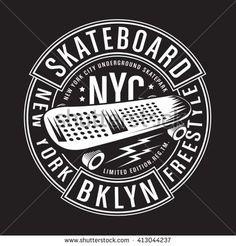 Skate board typography, t-shirt graphics, vectors - stock vector