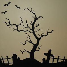 This would make a Halloween Party! How cool would it be on the front door also? This would make a Halloween Party! How cool would it be on the front door also? Casa Halloween, Halloween Graveyard, Halloween Trees, Creepy Halloween, Holidays Halloween, Halloween Decorations, Adornos Halloween, Spooky Trees, Halloween Drawings