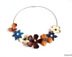 Home › BijuBrill › Leather Necklaces  Leather Floral Bouquet Necklace