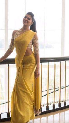 Unbordered Yellow Saree