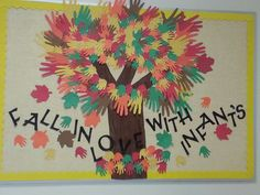 """October """"Falling in Love with Infants"""" tree Infant Room Daycare, Infant Toddler Classroom, Toddler Teacher, Fall Classroom Decorations, Classroom Crafts, Classroom Fun, Fall Classroom Door, Classroom Board, Daycare Crafts"""