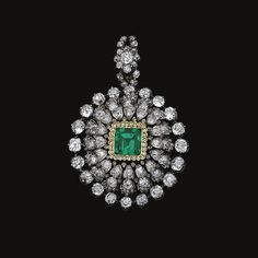 Emerald and diamond pendant/brooch, mid century Diamond Pendant, Modern Art, Jewelery, Emerald, Jewelry Watches, Fine Jewelry, Pendants, Brooch, Antiques