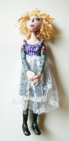 Tamsin the handmade one of a kind cloth doll by Spellbound Sally of Etsy