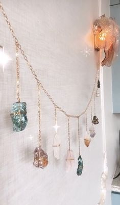 Crystals Blue Calcite Charm Necklace One of a Kind Gemstones Boho Handmade Pendant Copper Chain Jewelry