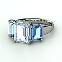 Naked Emerald Medium Triple Ring, Emerald-Cut Aquamarine Platinum Ring with Blue Topaz from Gemvara