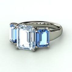 Naked Emerald Medium Triple Ring, Emerald-Cut Aquamarine Platinum Ring with Blue Topaz from Gemvara