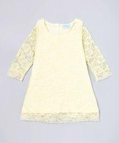 Look at this #zulilyfind! Buttercream Vintage Lace Shift Dress - Infant, Toddler & Girls #zulilyfinds