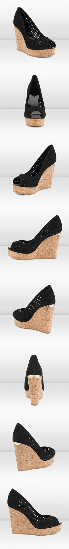"""Jimmy Choo - Papina - 134papinabpsu - Black Perforated Suede Platform Wedge Peep Toe Pump - Papina is a must have Jimmy Choo wedge with a city chic edge. These peep toe pumps have been given an artisanal twist with the introduction of suede perforated with a pretty petal pattern. The cork wedge is lightweight and the sole has been finished with rubber for extra grip. Heel height measures 120mm / 4.7"""" with a 30mm/ 1.2"""" platform."""