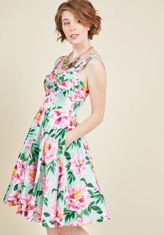 Elegance My Way Floral Dress by ModCloth - Floral, Print, Pleats, Daytime Party, Vintage Inspired, 50s, A-line, Sleeveless, Woven, Best, Exclusives, Sweetheart, Wedding Guest, Long, Wedding, Special Occasion, Prom, Graduation, Bridesmaid, Homecoming, Spring, Summer, Party, Private Label, ModCloth Label, Green, Pink, Multi