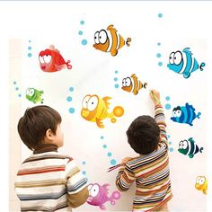 2 Set Removable PVC Decals DIY Waterproof Wall Stickers Kids Fish Poster For Bathroom Tile Decoration AY618 -  Get free shipping. This shopping online sellers give you the best deals of finest and low cost which integrated super save shipping for 2 set Removable PVC Decals DIY Waterproof Wall Stickers Kids Fish Poster For Bathroom Tile Decoration AY618 or any product.  I think you are very happy To be Get 2 set Removable PVC Decals DIY Waterproof Wall Stickers Kids Fish Poster For Bathroom…