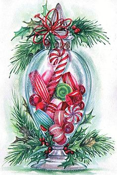 Vintage CHRISTMAS Card GLITTERED CANDY CANES PEPPERMINTS,HARD CANDY In GLASS JAR