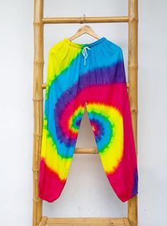 Colorful Tie Dye Pants Rainbow Pants Music Festival Pants | Etsy Hippie Pants, Boho Pants, Tie Dye Pants, Tie Dye Skirt, Custom Checks, Purple Skirt, Comfy Pants, Gypsy Skirt, Party Wear