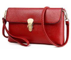 Amarte Women's Leather Envelope Bag Wristlet Clutch Shoulder Bag * You can find more details by visiting the image link.