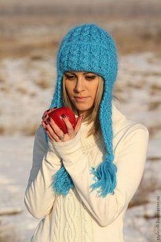 вязаная шапка, шапка с ушками, теплая зимняя шапка, шапка с подкладом, купить шапку с ушками