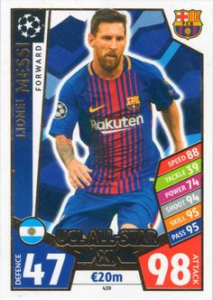 6983d40f2 MATCH ATTAX CHAMPIONS LEAGUE 17 18 LIONEL MESSI UCL ALL STAR XI TRADING  CARD - FC BARCELONA 17 18  Amazon.co.uk  Toys   Games