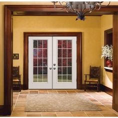 stain grade trim around white french doors - Google Search