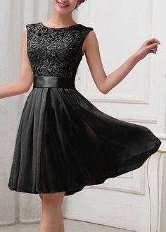 Fashion Lace Splicing Chiffon Knee Length Dress - Black