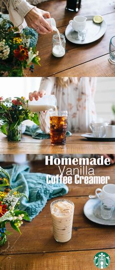 This simple, delicious vanilla creamer adds subtle flavor to your favorite coffee. Recipe: Pour ½ cup half and half, ½ cup whole milk and 1 tsp Starbucks® Vanilla Syrup into a mason jar. Tighten the lid and shake thoroughly. Store in the refrigerator for up to 2-3 weeks. We love using the vanilla creamer to top off Starbucks Breakfast Blend. Enjoy!