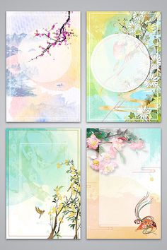 Fresh hand painted floral watercolor background image#pikbest#backgrounds