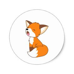 Cute Sleepy Little Fox Classic Round Sticker Zazzle com is part of Cute fox drawing - Shop Cute Sleepy Little Fox Classic Round Sticker created by Chibibi Personalize it with photos & text or purchase as is! Cartoon Fox Drawing, Cute Fox Drawing, Cute Animal Drawings, Kawaii Drawings, Cute Drawings, Cute Cartoon, Fuchs Illustration, Cute Illustration, Red Fox Tattoos