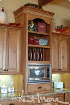 bookcase above microwave custom kitchen cabinets by kent moore cabinets rustic hickory wood with golden. beautiful ideas. Home Design Ideas