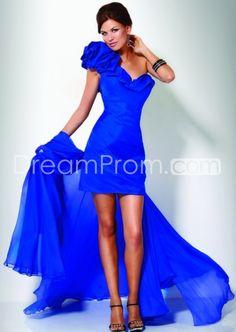 One-Shoulder A-Line Ruffles Court Train Mini/Short Homecoming Dresses