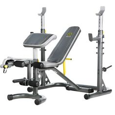 "Gold's Gym XRS 20 Olympic Workout Bench...@ WMC for $258.66! I think I will buy this first, to start replacing some of My Workout Gear ~ All of My Other Gear was Damaged beyond repair or Washed Down The Creek ~ {No Kidding!!} ~ with ""The 100 Year Flood"" that happened on April 11, 2014! I like 'Gold's Gym' Brand better than any of the other's."