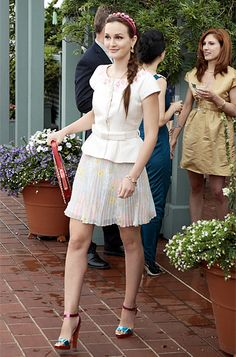 "Season 6, Episode 2: ""High Infidelity""  Blair Waldorf (Leighton Meester) wears an Alice + Olivia skirt, Valentino bag, and Christian Louboutin shoes."