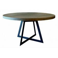 Table de salle à manger Baron : Table de salle à manger ronde design comportant un plateau rond bois et un piètement design en acier anthracite. Livraison offerte