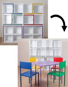 Love this (especially for small spaces): Colourful chairs and table that hide within a shelving unit. Magic!  http://design-milk.com/as-if-from-nowhere-by-orla-reynolds/ #homedecor #furniture #storage