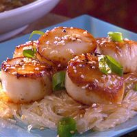 Pan Seared Scallops with Sesame Sauce and Asian Noodles by Quick Fix Meals with Rachel Miller