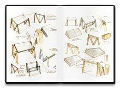 Dessin analytique. Pour expliqué certaine fonction ou partie d'un objet. Plusieurs dessins, différente représentation (point de vue, avec d'autre objet),annotation .