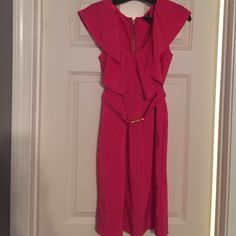 H&M pink dress Size 8 Love this dress. Hot pink with stretch waist that has clip enclosure. Clip is a little scratched from being buckled a few times but only if you look close. Dress otherwise in excellent condition. Size 8. H&M Dresses Mini