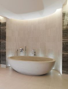 Limestone Egg Bath with Pencil White Limestone Mosaic - contemporary - Bathroom - London - Lapicida Stone Group Indoor Water Features, Stone Tile Flooring, Best Bathtubs, Bathroom Spa, Bathroom Ideas, Bath Ideas, Limestone Tile, Marble Bath, Dream Decor