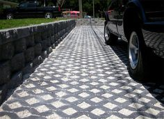 Permeable Paving Options: Presto Geosystems, Filterpave, Turfstone Permeable Concrete Pavers (pictured), Filtercrete Pervious Concrete, VAST Composite Pavers. http://www.apartmenttherapy.com/green-your-driveway-with-permeable-pavers-170074